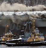 Пожар гори на руския самолетоносач 'Адмирал Кузнецов'